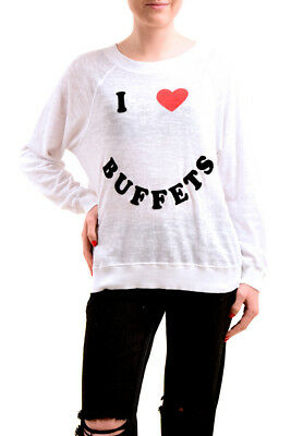 Wildfox Women NBW I Love Buffets Long Sleeve NWT Pullover White L RRP £99 BCF76