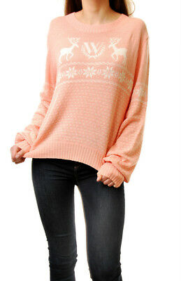 Wildfox Women White Label Soft Knitted Sweater Baggy Sweater Soft Pink Size S