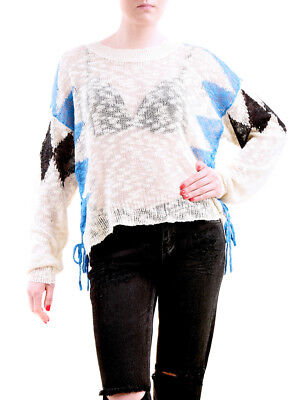 Wildfox Women's NBW Checkmate Sweater Natural Floor Size S RRP £155 BCF75
