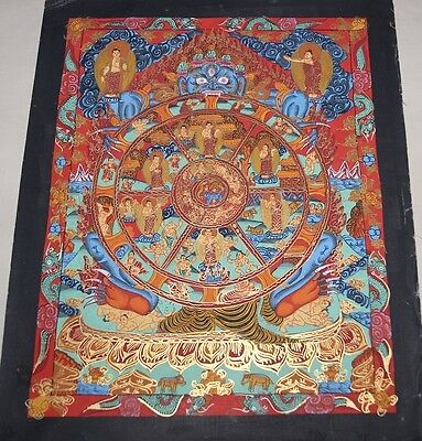 Tibetan Chinese HandPainted Signed Mandala Thangka Gold Painting Meditation a15