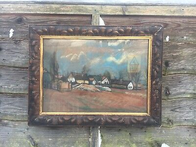 Large Antique Painting In Gold Gilt Frame, Signed