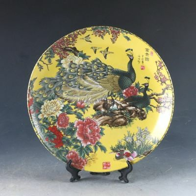 Exquisite Chinese Porcelain Hand-painted Peacock Plate W Qianlong Mark PJ926