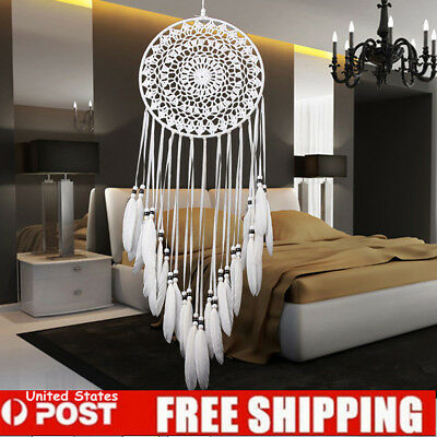 31.5'' Large Handmade Wall Hanging Decorations Dream Catcher with White Feathers