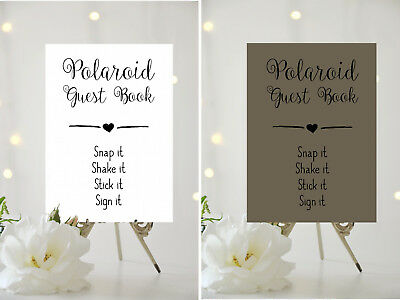 A4/a5 Wedding Sign - Polaroid Guest Book - Choice Of Background Card 001