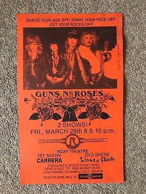 Original rare Guns N' Roses flyer Friday 28th March 1986 at the RoxyTheater