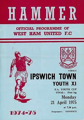 FA YOUTH CUP FINAL 1975 West Ham v Ipswich Town