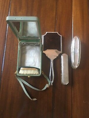 Antique silver dressing table mirror and brushes,J C Vickery Leather Vanity Case