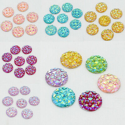 50pcs 12mm Resin Flat Back Round Dotted Cabochon Rhinestone Beads Jewelry Making