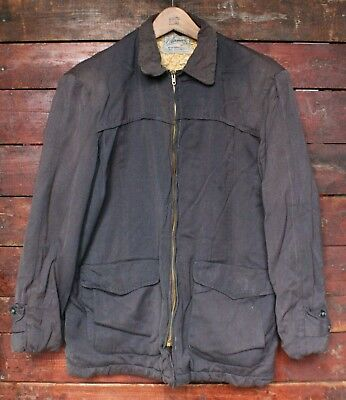 VTG 50s AIRMAN BLUE RAYON GABARDINE QUILTED SATIN LINED JACKET ROCKABILLY USA 40