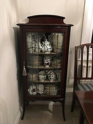Antique Mahogany  Leaded Glass Vintage Display China Cabinet With Key