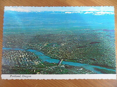 Old Postcard - Aerial View of Portland, Oregon USA