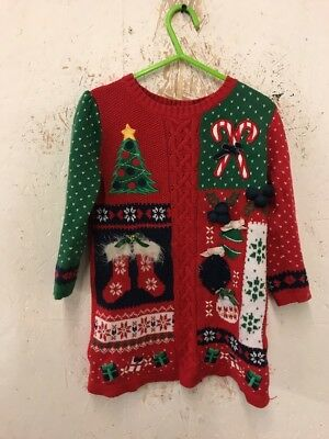 Size 2-3 Years Red Long Sleeve Christmas Jumper Dress By Tu