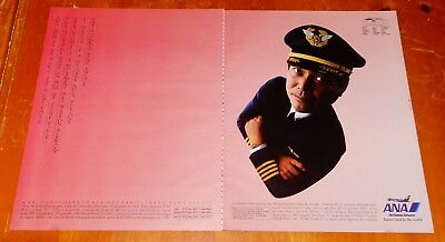 French 1989 Ana Air Nippon Airways Ad With Japanese Pilot / 80S Retro Airline