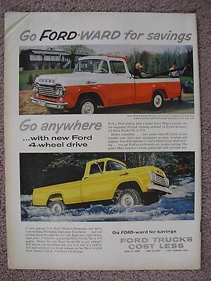 1959 Ford Pickup Truck 4X4 4 Wheel Drive Large Full Page Color Ad Free Shipping