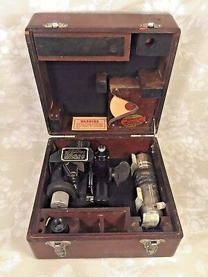 Vtg Army Air Corps WWII Fairchild A-10 Sighting Mechanism Sextant in Wood Case