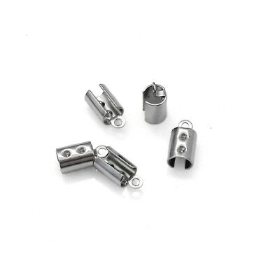20 x Stainless Steel Cylinder Cord Ends Tips Crimps Caps - Suits 4mm Cord