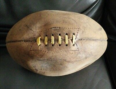 Original Brown Leather Genuine Matchball Rugby Ball size 5 from 1950s