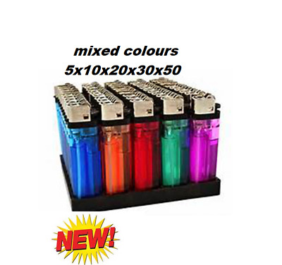 Disposable Lighters Child Safety  x5, x10, x20, x30 x50 mixed colours