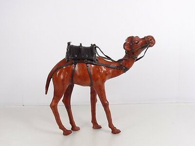 Vintage Leather Wrapped Camel with Saddle Bag From India 12 Inches High