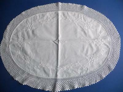 Hand Embroidered Whitework Irish Linen Oval Table Mat, Crocheted Lace Edging