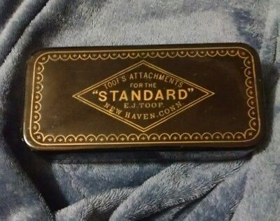 Vintage Black STANDARD Sewing Machine Attachments Hinged TIN Box Antique