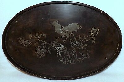Seng Shao An Ware, Foo Chow China Vintage Lacquered Oval Tray With Rooster