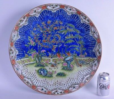 huge mid 19th c chinese blue ground porcelain charger bowl dish daoguang period