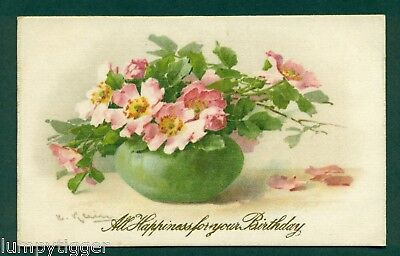 SILK,PRINTED GREEN POT WITH PINK FLOWERS,vintage postcard