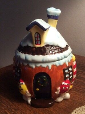 M & M Ceramic House Holiday Cookie,Candy, Treat Jar 2008