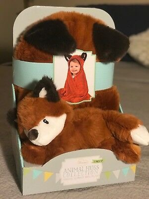 """Little Miracles Rusty Red Fox Animal Hugs Hooded Baby Blanket 30""""x36"""" & Plush"""