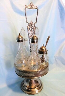 Antique Victorian Wilcox Quadruple Silver Plate Meriden Condiment Cruet Set