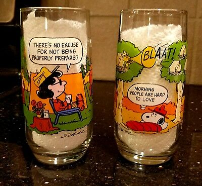 Vintage McDonalds Camp Snoopy Glasses (2) - Woodstock and Lucy