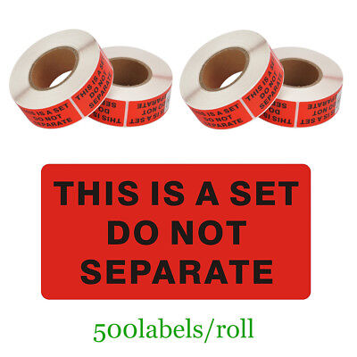 4 Rolls Warning Sticker THIS IS A SET DO NOT SEPARATE Shipping Label 500 / Roll