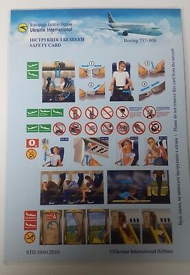 UKRAINIAN INTERNATIONAL AIRLINES, BOEING 737 800 , UKRAINE, Safety card