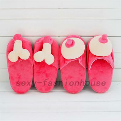 Women Men Red Soft Comfortable Funny Breast Slippers Gift Present New