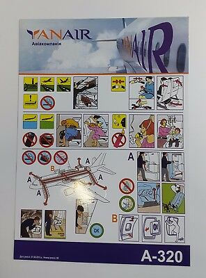 YANAIR AIRLINES, AIRBUS A-320, UKRAINE, Safety card