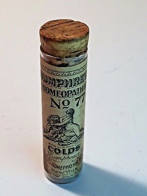 ANTIQUE HUMPHREY'S HOMOEPATHIC No.77 COLD PILL BOTTLE BEAUTIFUL LABEL