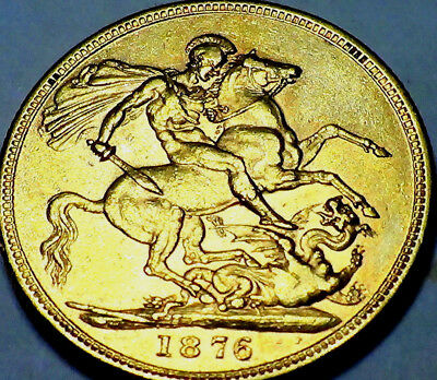 1876 M British  Victoria   Sovereign Gold Coin  NO RESERVE