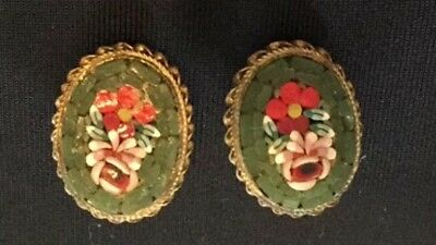 VINTAGE JEWELRY MICRO MOSAIC TILED EARRINGS floral clipon green rose florals