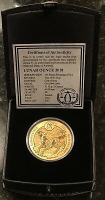 2018 Rwanda 1 oz Gold Lunar Year Of The Dog Coin- MINTAGE OF ONLY 188!