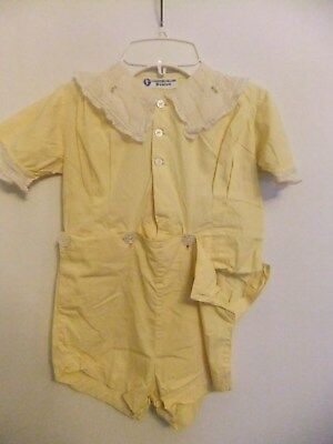 child's vintage clothing, yellow two piece cotton romper, buttons, lace, yellow