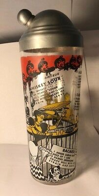 Vintage 1950's Heavy Glass Cocktail Shaker with * With Drink Recipes