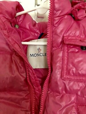 Moncler K2, 12-18m pink girls down quilted fox fur hooded puffer coat jacket