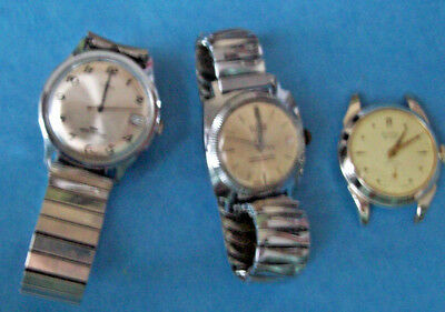 Lot Of 3 Vintage Mens Windup Watches None Work Timex, Evans, Suisse Deluxe