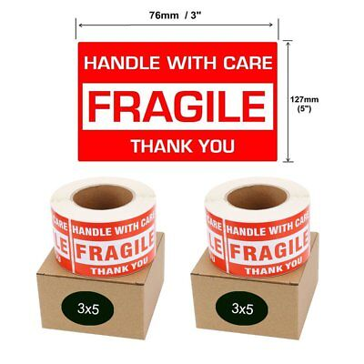 "1000 3""x5"" HANDLE WITH CARE THANK YOU Fragile Shipping Stickers Labels 500/Roll"