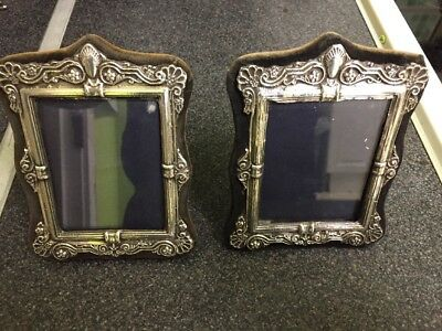 Vintage Pair Of British Hallmarked Silver Patented Picture Frames