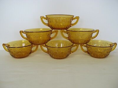 6 Indiana Daisy Amber Handled Cream Soup Bowls