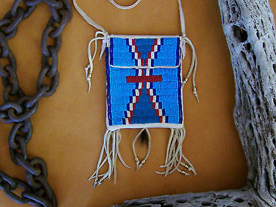 Traditional Beaded Medicine Bag - Turquoise Mesas - Rendezvous - PowWow