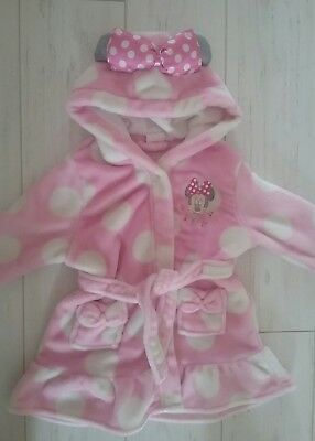 baby girls DISNEY minnie mouse ROBE dressing gown 12-18 months