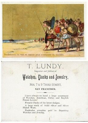 San Francisco WATCHES CLOCKS JEWELRY Third Street LUNDY Victorian Trade Card